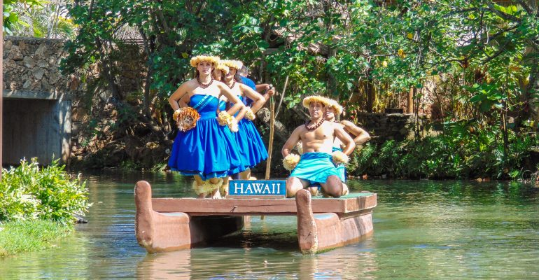 Village of Hawai'i canoe pageant at The Polynesian Cultural Center.